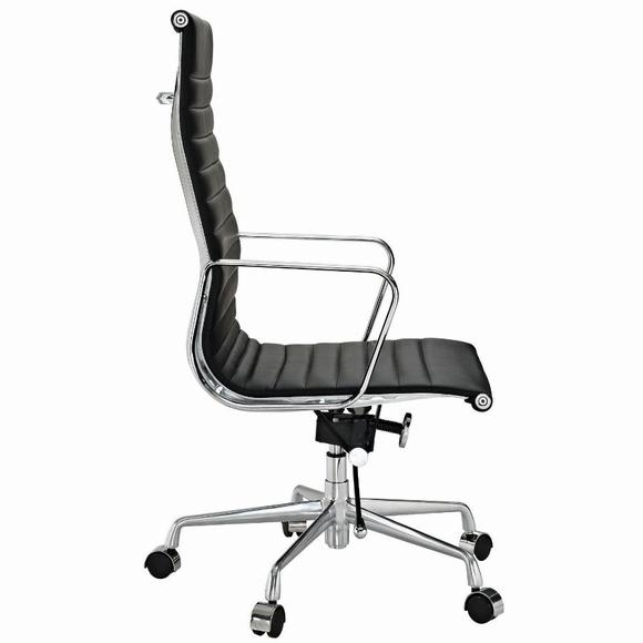 Eames  Thin Pad Office Chair Black Leather - Replica - High Back - DECOMICA