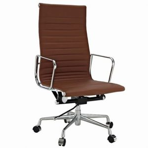 Eames  Thin Pad Office Chair Brown Leather - Replica - High Back - DECOMICA