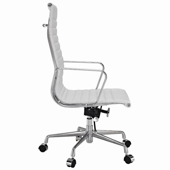 Eames  Thin Pad Office Chair White Leather - Replica - High Back - DECOMICA