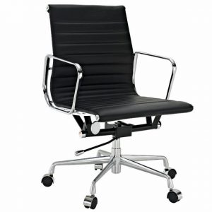 Eames  Thin Pad Office Chair Black Leather - Replica - Low back - DECOMICA