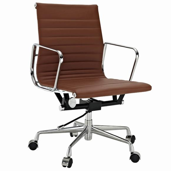 Eames  Thin Pad Office Chair Brown Leather - Replica - Low back - DECOMICA