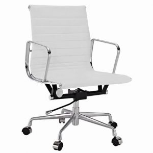 Eames  Thin Pad Office Chair White Leather - Replica - Low back - DECOMICA