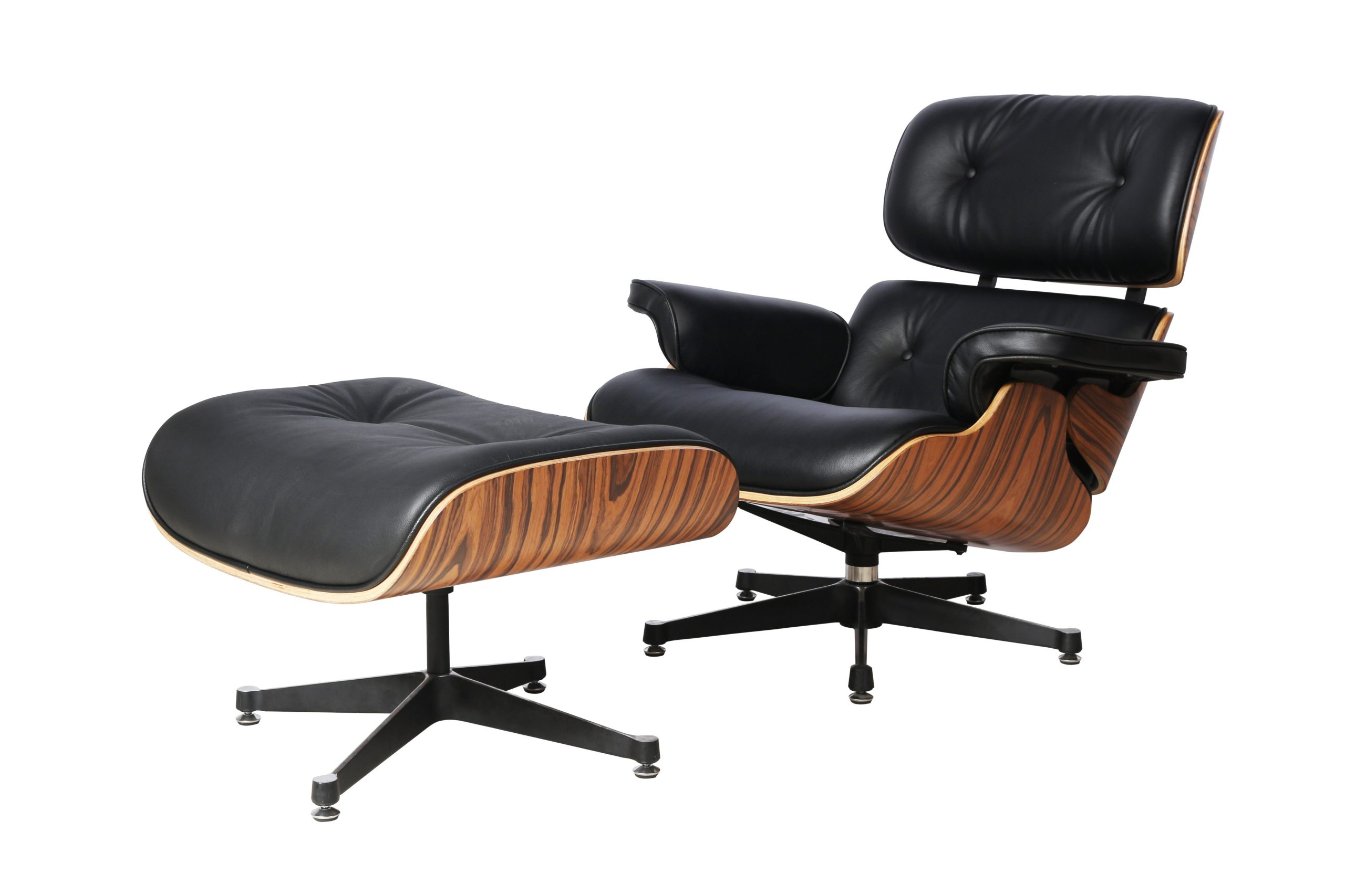 Charles Eames Replica Lounge Chair And Ottoman - Black - Light Wood Rose wood - Elephant Base - DECOMICA