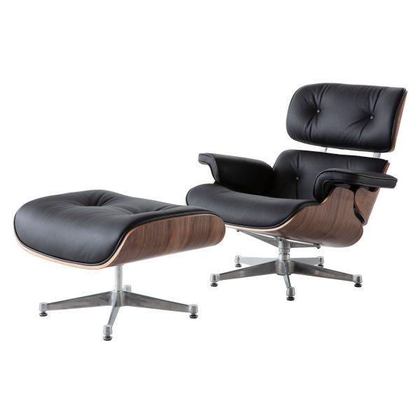 Charles Eames Replica Lounge Chair And Ottoman - Black - Walnut wood - Chrome Base - DECOMICA