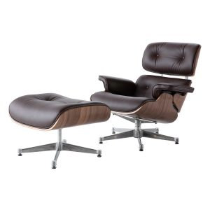 Charles Eames Replica Lounge Chair And Ottoman - Brown - Walnut wood - Chrome Base - DECOMICA