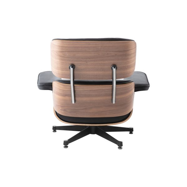 Charles Eames Replica Lounge Chair And Ottoman - Black - Walnut wood - elephant Base - DECOMICA