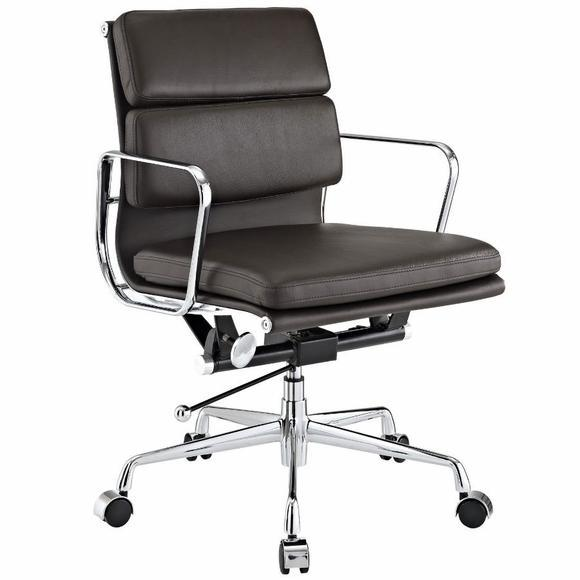 Eames  Softpad Office Chair Brown Leather - Replica - Low back - DECOMICA