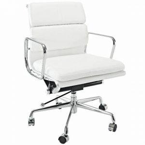 Eames  Softpad Office Chair White Leather - Replica - Low back - DECOMICA