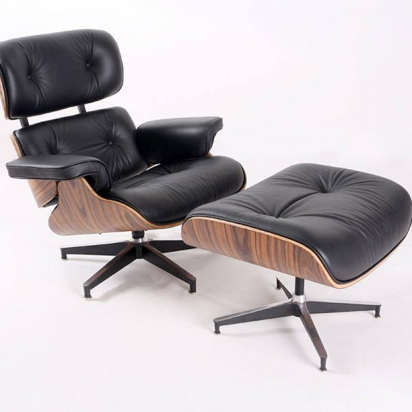 Classic Charles Eames  Lounge Chair And Ottoman Replica Black Leather Rose Wood - DECOMICA