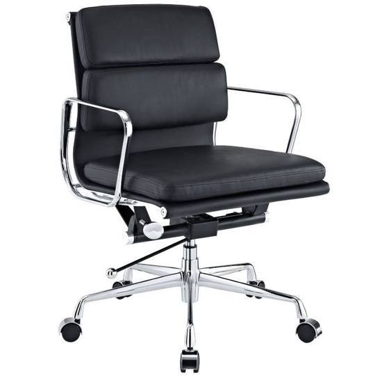 Eames  Softpad Office Chair Black Leather - Replica - Low back - DECOMICA