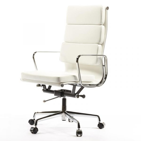Eames Soft Pad High Back EA219 Office Chair Replica - White Leather - DECOMICA