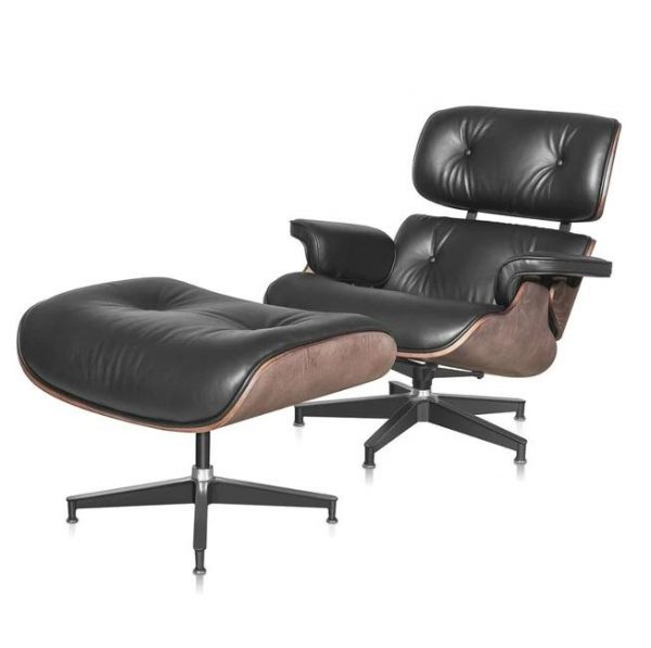 Classic Charles Eames  Lounge Chair And Ottoman Replica Black Leather Wallnut Wood - DECOMICA