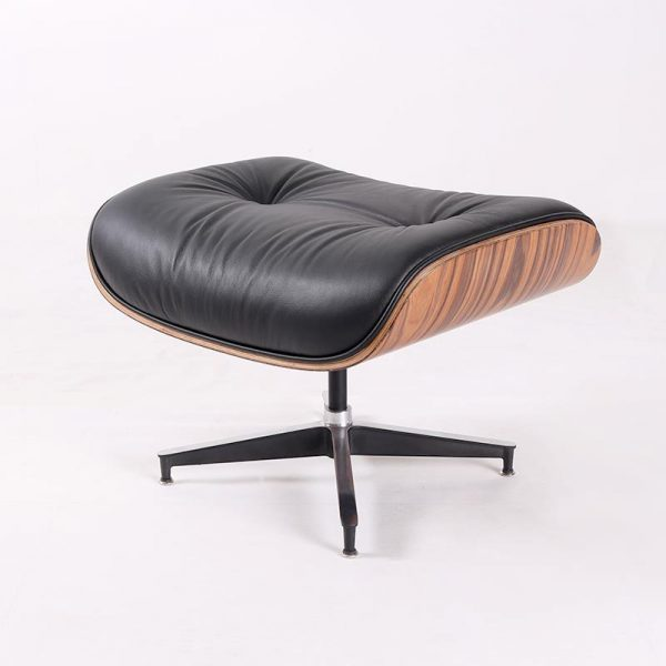 Classic Charles Eames Lounge Chair And Ottoman Replica Black Leather Rose Wood