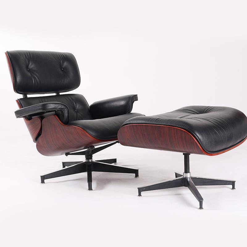 Charles Eames Replica Lounge Chair And Ottoman - Black - Dark Wood Rose wood - Normal Base - DECOMICA