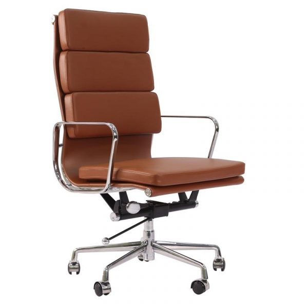 Eames Soft Pad High Back EA219 Office Chair Replica - Tan Brown Leather - DECOMICA