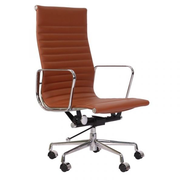 Eames  Thin Pad Office Chair Tan Brown Leather - Replica - High Back - DECOMICA