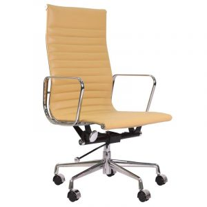 Eames  Thin Pad Office Chair Camel Leather - Replica - High Back - DECOMICA