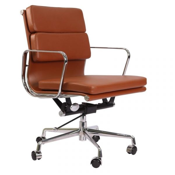 Eames  Softpad Office Chair Tan Brown Leather - Replica - Low back - DECOMICA