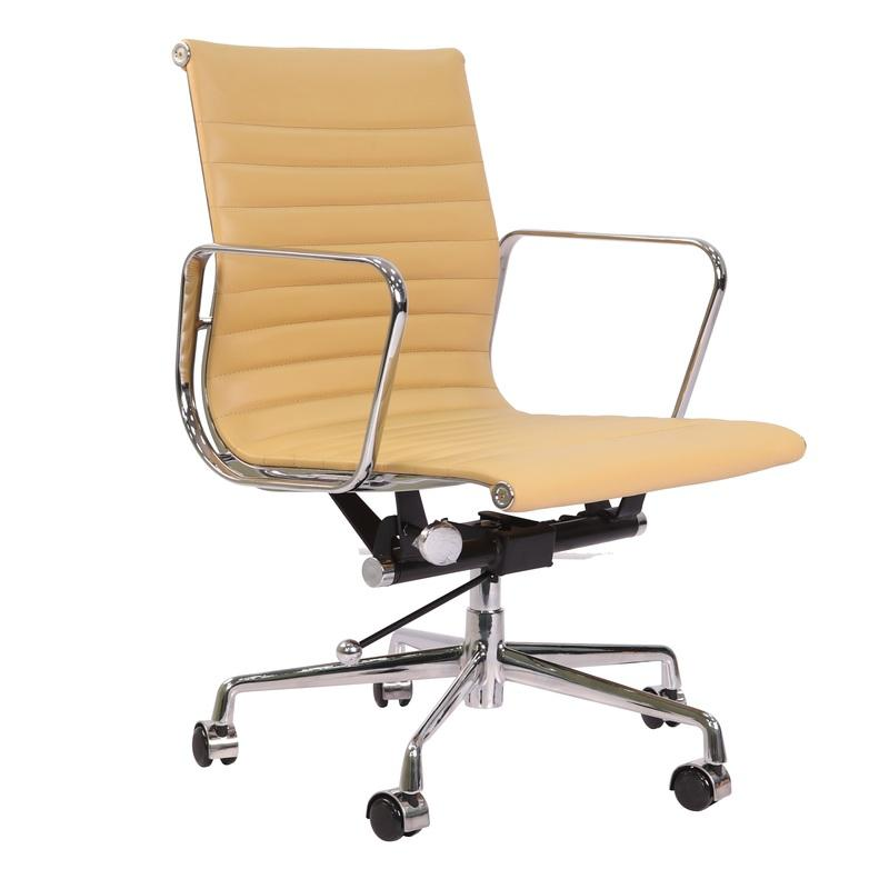 Eames  Thin Pad Office Chair Camel Leather - Replica - Low back - DECOMICA