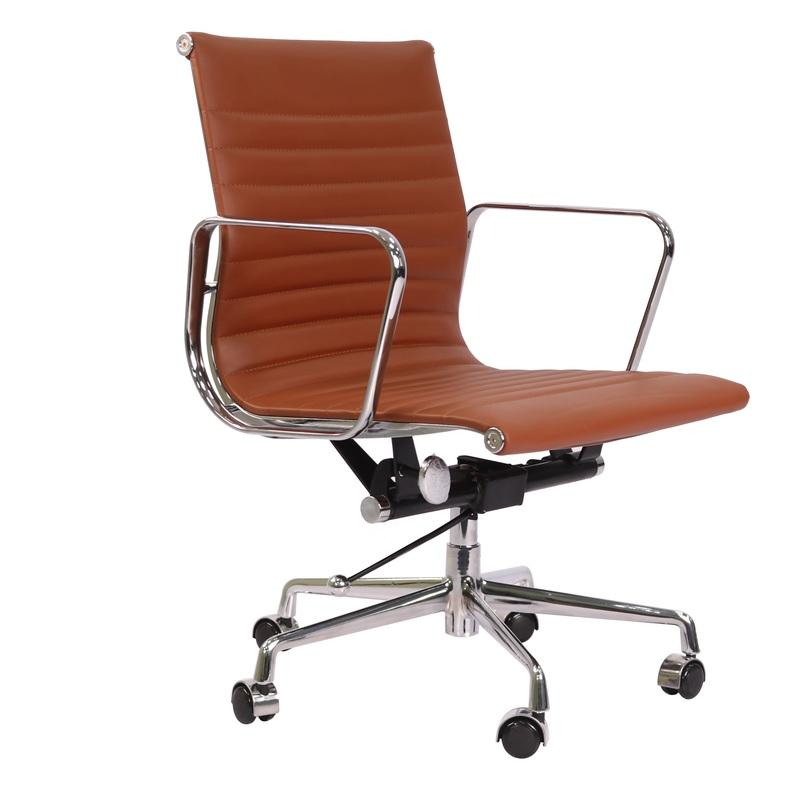Eames  Thin Pad Office Chair Tan Brown Leather - Replica - Low back - DECOMICA