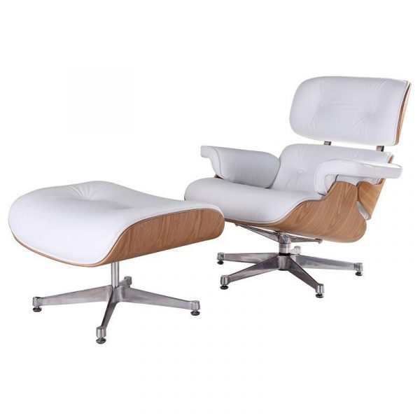 Classic Charles Eames  Lounge Chair And Ottoman Replica White Leather & Ash Wood - DECOMICA