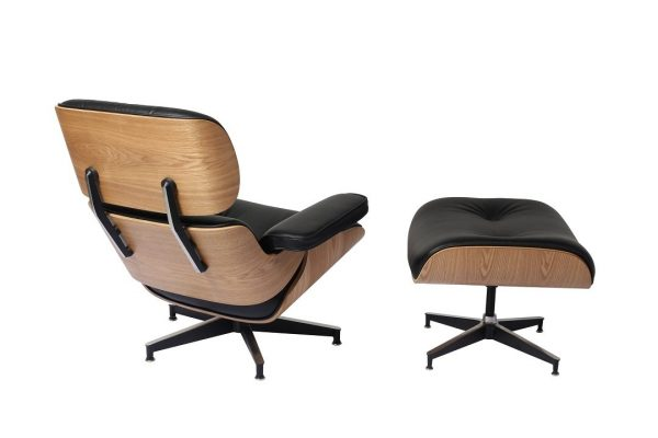 Classic Charles Eames  Lounge Chair And Ottoman Replica Black Leather - Ash Wood - DECOMICA
