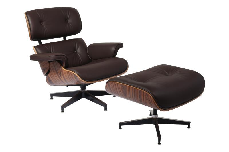 Classic Charles Eames  Lounge Chair And Ottoman Replica Brown Leather Rose Wood - DECOMICA