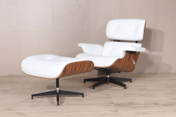 Classic Charles Eames  Lounge Chair And Ottoman Replica White Leather Rose Wood - DECOMICA