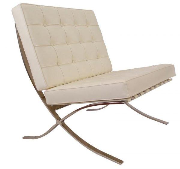 Premium Barcelona Chair Cream - Mies Van Der Rohe Replica - DECOMICA