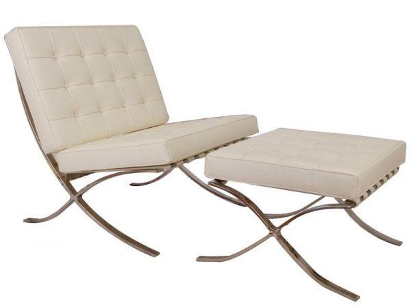 Premium Barcelona Chair Cream Set - Mies Van Der Rohe Replica - DECOMICA