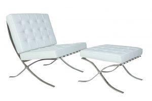Premium Barcelona Chair and Ottoman White - Mies Van Der Rohe Replica - DECOMICA