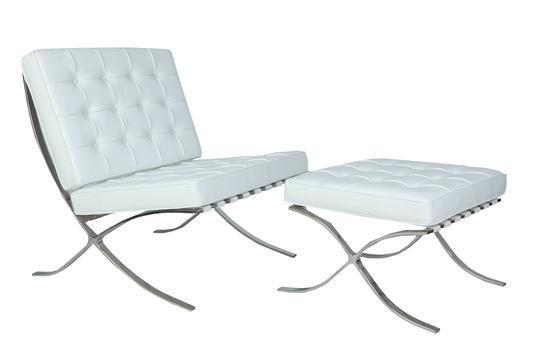 Premium Barcelona Ottoman White - Mies Van Der Rohe Replica - DECOMICA