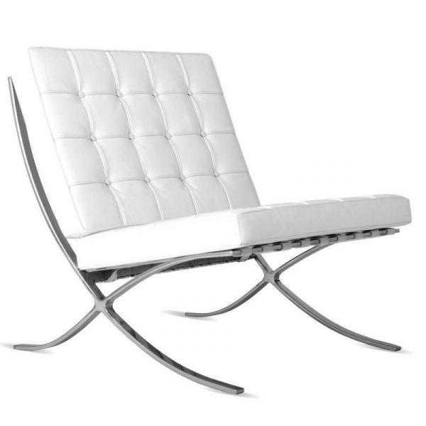 Premium Barcelona Chair White - Mies Van Der Rohe Replica - DECOMICA