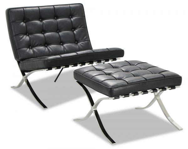 Premium Barcelona Ottoman Black - Mies Van Der Rohe Replica - DECOMICA