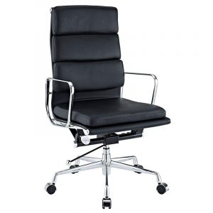 Eames Soft Pad High Back EA219 Office Chair Replica - Black Leather - DECOMICA