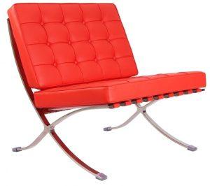 Premium Barcelona Chair Red - Mies Van Der Rohe Replica - DECOMICA