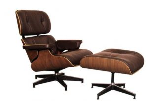 Classic Charles Eames  Lounge Chair And Ottoman Replica Chocolate Leather - Walnut - DECOMICA