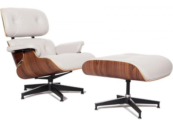 Classic Charles Eames  Lounge Chair And Ottoman Replica White Leather & Walnut Wood - DECOMICA