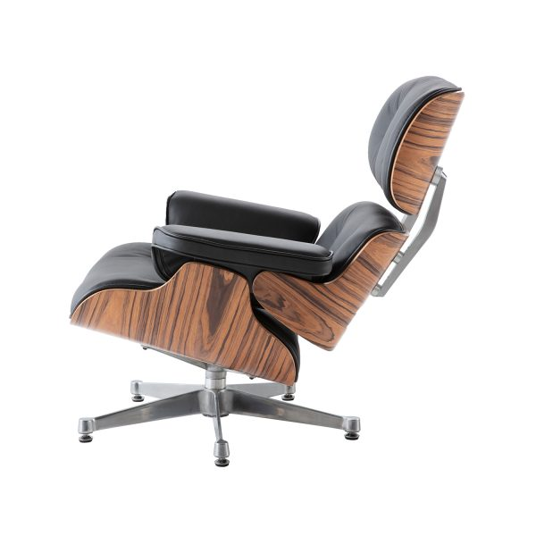 Charles Eames Lounge Chair And Ottoman Replica - Black - Rose Wood - Chrome Base